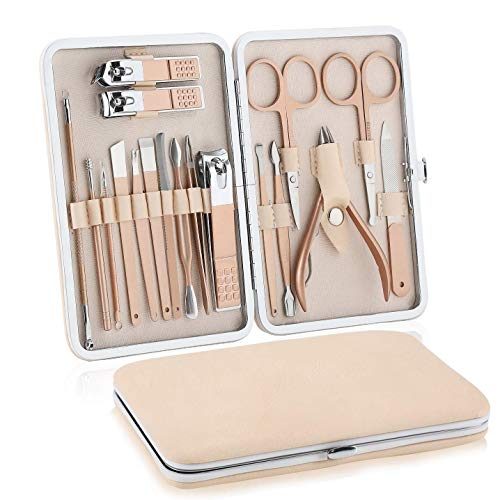Luling Manicure Professionale, Set Manicure, Pedicure Manicure Set, Tagliaunghie Set Professionale, Kit Cura Unghie Donna Manicure e Pedicure Attrezzi Kit Professionale, 18 Pezzi