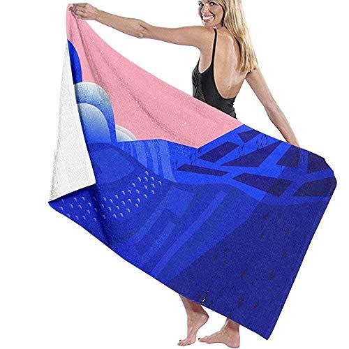Mathillda Toalla de baño Wrap Secret Places Prints Womens SPA Ducha y Envoltura Toallas Natación Albornoz- Blanco