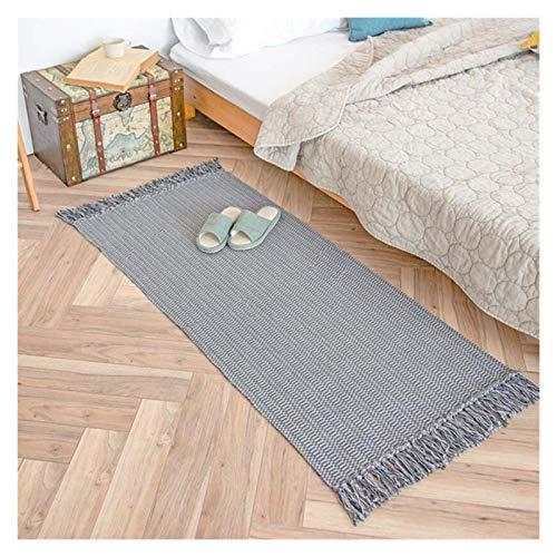 YXBB Nordic Grey Color Mano Tejido de algodón Lino Alfombra Alfombra para la Estera de Piso Tapón de Dormitorio Grueso Tapicería Área de Manta Decorativa Alfombra 0104