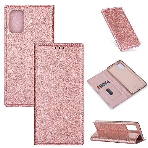 ZTOFERA Funkelnd Ledertasche für Samsung A71, Premium PU Leder Flip Brieftasche Tasche mit [Magnetverschluss] [Kickstand] [Kartensteckplatz] Superdünne Notebook Hülle für Samsung Galaxy A71-Roségold