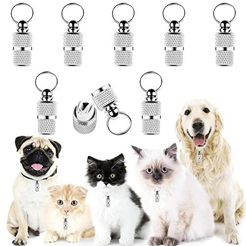 Yangfei 8Pcs Etiquetas de Identificación de Mascotas Placas de Identificación para Perros Etiquetas Personalizadas para Perros y Gatos, Evitar la Pérdida de Mascotas (Plateado,con Papel)