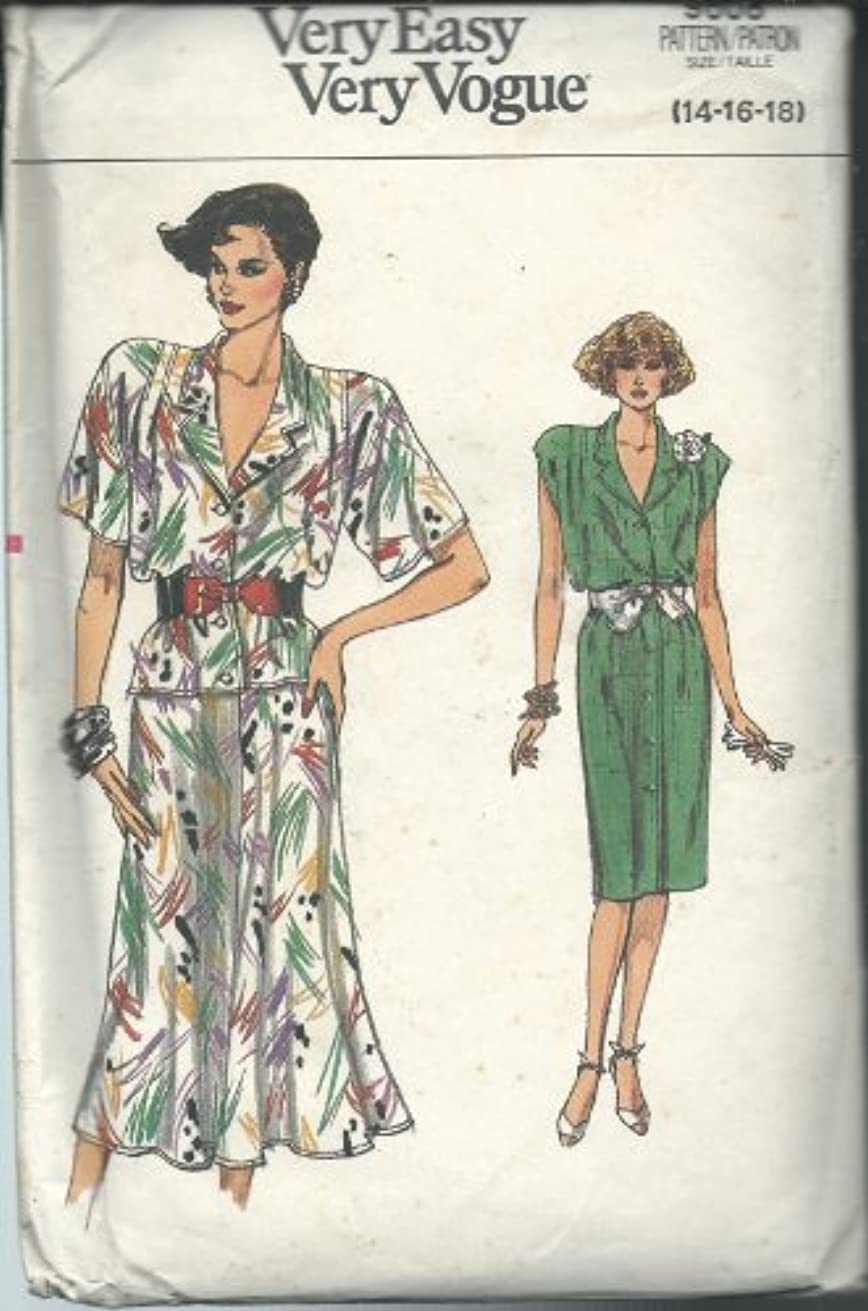 Vintage Vogue 9608 Sewing Pattern Misses Very Easy Dress Top and Skirt Size 14-18 Size14-18