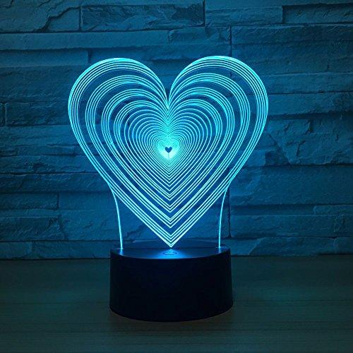 Luces Nocturnas Regalos Únicos Para La Esposa De Mamá Forma De Corazón Led Luz Visual Nocturna 3D 7 Colores Cambiar Luz Del Dormitorio Del Bebé Lámpara De Noche Led Decoración De Acrílico