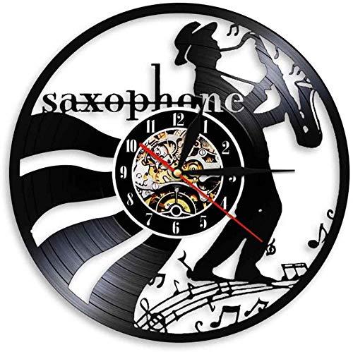 TZMR Musiker Jazz Musik Wanduhr Kunstplatte Wanduhr Trompete Klassisches Saxophon Musikinstrument Wanduhr Jazz Player Geschenk