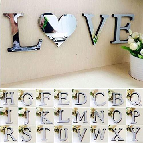 FICI 2pc Creatieve Acryl DIY Muurstickers Decoratie Spiegel Muursticker Alfabet Engelse letters Home Decor, HART