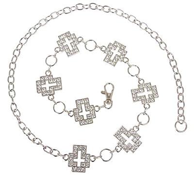 Womens Rhinestone Cross Ornaments Chain Belt, Silver   O/S - 42 End To End