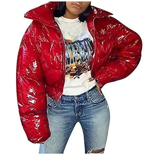 여자 브라이트 다운 재킷 솔리드 섹시 크롭 롱 슬리브 탑스 따뜻한 겨울 스탠드 칼라 지프 업 퍼퍼 코트 아웃어웨어