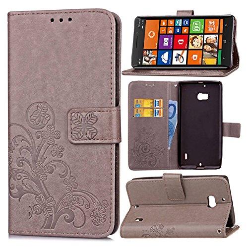 pinlu Schutzhülle Für Microsoft Lumia 930 Handyhülle Hohe Qualität PU Ledertasche Brieftasche Mit Stand Function Innenschlitzen Design Glücklich Klee Muster Grau
