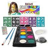 B&E Artt Face Painting Kit for Kids & Adults | Bonus Rhinestone Stickers | 30 Stencils 2 Brushes 2 Sponge Pads 1 Glitter | Professional Face & Body Paints in 10 Vibrant Colors Safe for Sensitive Skin