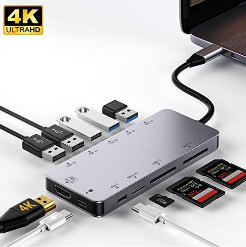 Honmax Hub USB C 11 en 1, Adaptador USB C con HDMI 4K, 2 USB 3.0 y 3 USB 2.0 y 1 Puertos Tipo C, 1 Micro SD y 2 SD Lector de Tarjetas, para MacBook, Samsung, Huawei, Otros USB C Dispositivos
