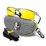 BLUPOND Night Driving Glasses For Men/Women - HD Yellow Vision for Maximum Clarity - Knight Visor (TITANIUM/Gray Case, Yellow Amber)