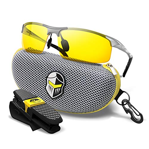 BLUPOND Night Driving Glasses - Semi Polarized Yellow Tint Anti Glare HD Lens Clear Vision - Unbreakable Metal Frame with Car Clip Holder - Knight Visor (Silver, Yellow)