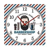 リビングルーム用壁掛け時計理髪店理髪店ポールパターンミュートスクエア壁掛け時計ヘアブラシアームチェアブラッシングカッティングストア装飾時計リビングルームの寝室に適した時計