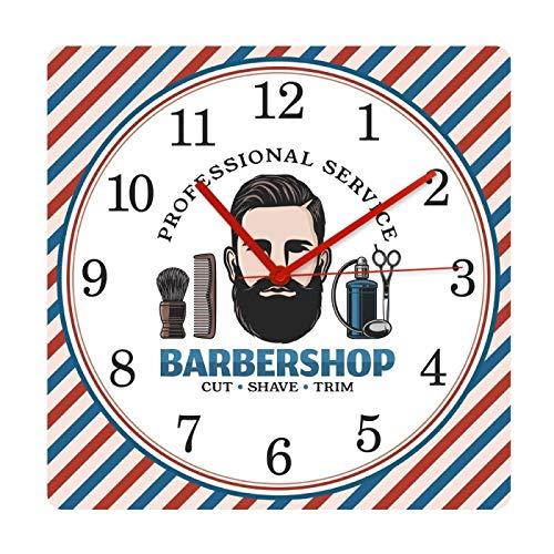 gongyu Barbershop Barber Pole Pattern Mute Square Reloj Colgante de Pared Cepillo de Pelo Sillón Cepillado Corte Tienda Relojes Decorativos Reloj