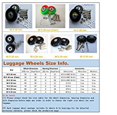 """✔ Brand New and high quality Luggage Replacement Wheels with Standard Center Bearing ID: 6mm (.236"""") ✔ Size:50 *18 mm / 50 * 18 (mm) (Clear) / 40 * 18 (mm) / 43 * 18 (mm) / 76 * 24 (mm) / 80 * 24 (mm) / 87 * 24 (mm) ✔ Each set consists of 1x replacem..."""