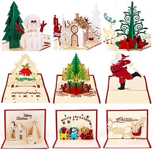 9 Pack 3D Christmas Cards Greeting Handmade Holiday Xmas Cards & Envelopes for New Year