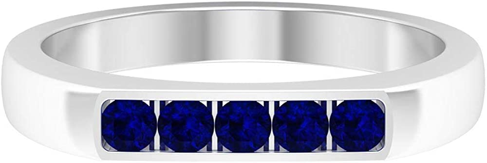 1/4 CT Lab Created Blue Sapphire Band Ring, 5 Stone Wedding Band, Gold Bar Ring (AAAA Quality), 14K Gold