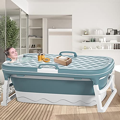 InLoveArts 138x62x52cm Bañera plegable de plástico grande, Bañera plegable portátil...