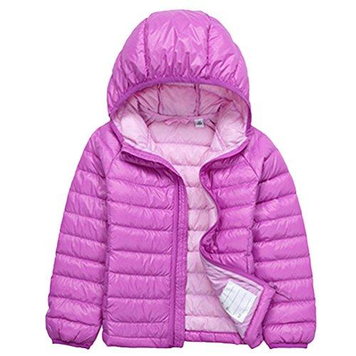 U/A Jungen Langarm Hoodies Steppjacke Gesteppt Leicht Verpackbar Daunen Mantel Mädchen Daunenjacken (Violett, 120cm)