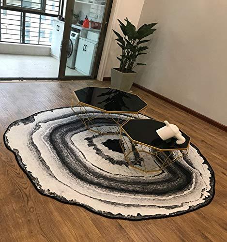 Bodenmatte Stuhlunterlage Anti Skid, Runde Bürostuhl Unterlage für Wohnzimmer Schlafzimmer, Stuhlmatte für Bodenschutz, Bodenschutzmatte rutschfest Jahresring Muster,Black-100cm
