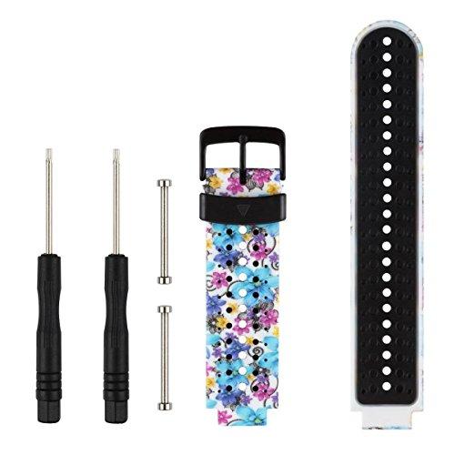 Fit-power Bracelet de rechange pour montre intelligente Garmin Forerunner 220/230/235/620/630, taille unique (Flower9)