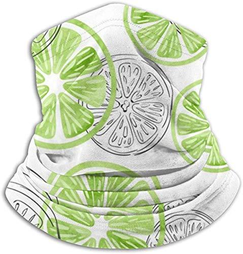 Mikrofaser Nackenwärmer Limette Aquarell Doodle Nackenschutz Tube Ohrwärmer Stirnband Schal Gesichtsmaske Sturmhaube