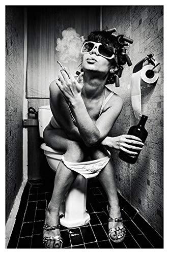 CCZWVH Chica sexy sentada en el inodoro con carteles de arte de lona nórdica y pintura de lona en blanco y negro en las imágenes de arte de la pared 20x28 pulgadas x2 Sin Marco