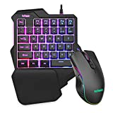 RedThunder One-Handed RGB Gaming Keyboard and Mouse Combo, 35 Keys Mini Gaming Keypad, 6400 DPI Programmable Mouse, Portable Game Controller for PC PS4 Xbox Gamer