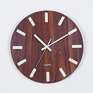 Luminous Wall Clock,Kisstaker Wooden Wall Clock Glow In The Dark Silent Quartz Indoor Living Room Luminous