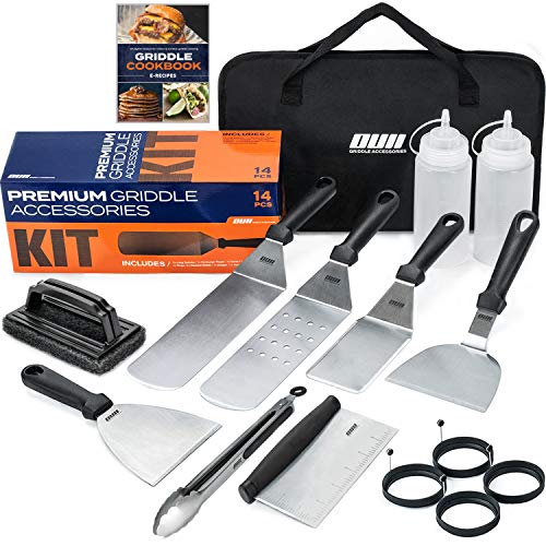 OUII Griddle Accessories Set - Flat Top Grill Accessories 14 Pieces Set with Griddle Cleaning Kit and Carry Bag! Metal Spatula, Griddle Scraper, Egg Rings and More for Gas Griddle and Teppanyaki Grill Barbecue Sets Tool