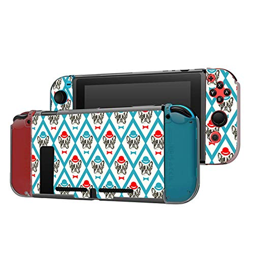 Dockable Case Compatible with Nintendo Switch Console and Joy-Con Controller, Patterned ( French bulldog with hat and bow tie pattern ) Protective Case Cover with Tempered Glass Screen