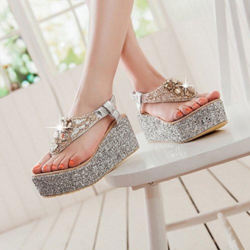 Shukun flip-lops voor dames, strand, sandalen, plat, waterbestendig, dik, goud en zilver, platform-vorm, hoge hakken, schoenen met strass, dames