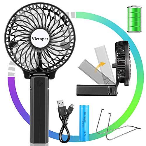 Victoper Mini Ventilador de Mano Portátil, Ventilador USB Portátil Plegable de Sobremesa 3 velocidades con 2600mAh Batería Recargable para Oficina/hogar/Exterior/C amping/Cochecito, etc (Negro)