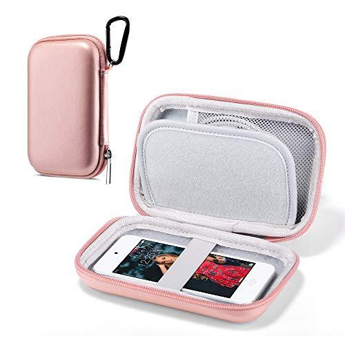 ULAK Custodia per lettore MP3, Custodia Rigida da Viaggio Glitterata Custodia Protettiva per Lettori MP3 / MP4 Bluetooth/Auricolari/iPod touch - Oro rosa