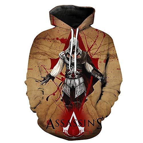 Assassin'S Creed Pullover Personalidad Impreso Pullover Jumpers Sudaderas con Capucha Sudaderas Estampadas Jersey de Manga Larga