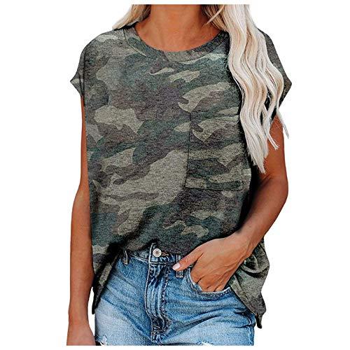 SNKSDGM Damen Oberteile Sommer Oversize Shirt Damen Damen lässig gedruckt Tasche T Shirts lose Batwing Kurze Ärmel Tee Oberteile Bluse Grün