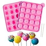 Yisscen Set di Stampi per Cake Pop, con 20 Bastoncini per Torta e 20 cavità in Silicone Lollipop Mold per Rendere Caramelle, Cupcake, Cioccolato, Focaccine di Biscotti Teglia 22.7 x 18.5 x 5 cm Rosa
