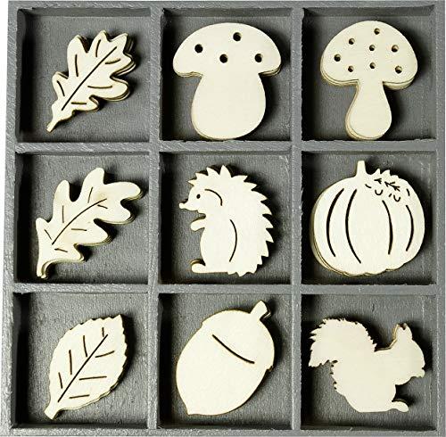 Knorr Prandell 2118521025 Holzornamentbox, Motiv Igel, Pilze, Blätter