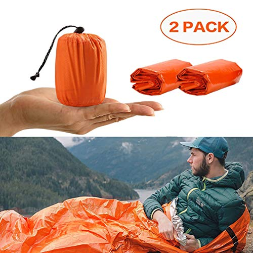 EAHUHO Emergency Sleeping Bag Survival Sleeping Bivvy Bag First Aid Sleeping Bag PE Aluminum Film Emergency Blanket Bushcraft for Outdoor Camping and Hiking (2 Pack - Orange)