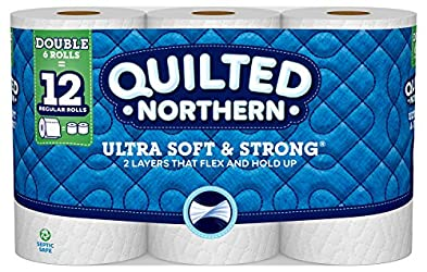 Quilted Northern Ultra Soft & Strong Toilet Paper, 6 Double Rolls, 6 = 12 Regular Bath Tissue Rolls