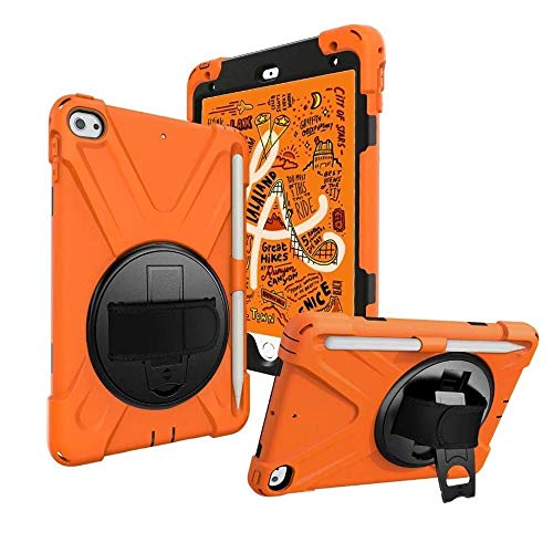 GHC PAD Cases & Covers For iPad MI-NI 4, Heavy Duty Silicon Cover 360 Rotating Shockproof Hand Strap Pencil Holder Kids Cover for iPad MI-NI 4 (Color : Orange)