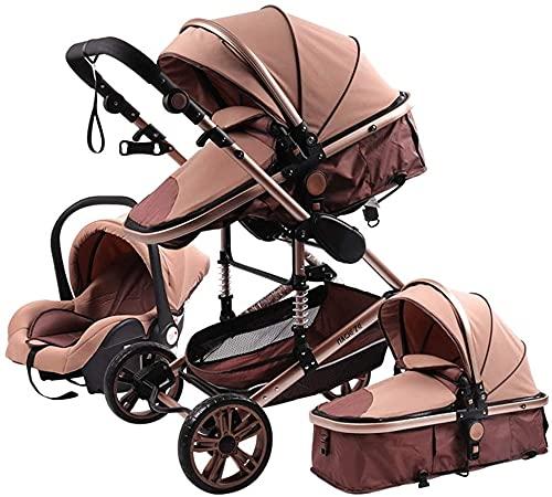 YZPTD Sistema de Viaje Cochecito de Lujo para bebés 3 en 1, Bassinet to Toddler Stroller, Luxury PRAM Doble Baby Car Carriage Ventilador Footmpuff Fooling Pad Cup Holder Mosquito Net