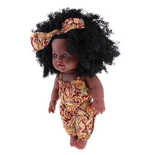 Baoblaze 30cm Afrikanischen Baby Puppe, Lebensecht Neugeborenen Silikon Mädchen Puppe Baby Spielzeug, Geschenk für Kinder - Gelbe Kleidung