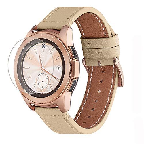 WFEAGL Kompatibel mit Samsung Galaxy Watch Armband 42mm/Gear S2 Classic/Gear Sport/Huawei Watch 2/Huawei Watch GT Elegant,20mm Top Grain Leder Ersatzband(20mm,Kamel/Gloden)