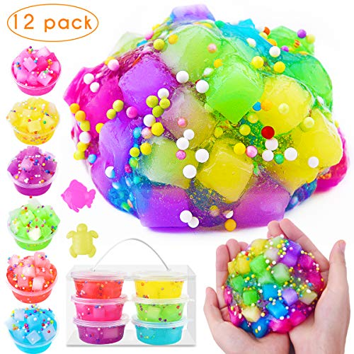 M MOOHAM Jelly Cube Slime - 6 Pack Clear Crystal Putty Scented Cube Slime for Kids, Super Soft Non Sticky Stretchy with Special Texture (12 Pack)