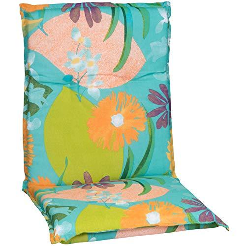 Beo Gartenstuhlauflage Polster Aquarell Blumenmotiv M701 für Niederlehner orange, türkis, rosé und grün