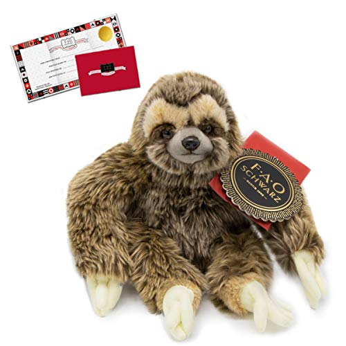 """FAO Schwarz 10"""" Sloth Plush Stuffed Animal Toy, Ultra Soft and Snuggly Doll for Creative and Imagination Play, for Boys, Girls, Children Ages 3 and Up, Playroom & Nursery Pretend Zoo Pet"""