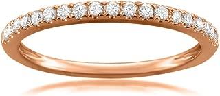 14k Rose Gold Round Diamond Micro-Pave Bridal Wedding Band Ring (1/4 cttw, H-I, VS2-SI1)