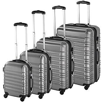 TecTake Set de 4 valises de Voyage de ABS avec Serrure à Combinaison intégrée | poignée télescopique | roulettes 360° - diverses Couleurs au Choix - (Argent | no. 402025)
