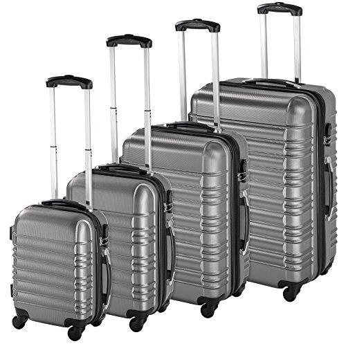 TecTake Set di 4 valigie ABS rigido trolley valigia bagaglio a mano borsa elegante - disponibile in diversi colori - (Argento   no. 402025)